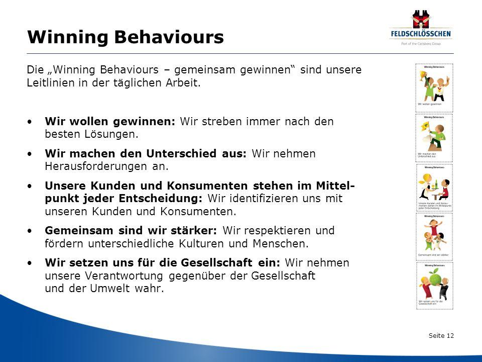 Seite 12 Winning Behaviours Die Winning Behaviours – gemeinsam gewinnen sind unsere Leitlinien in der täglichen Arbeit. Wir wollen gewinnen: Wir streb