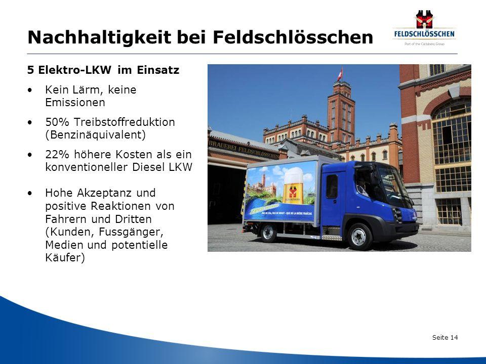 Seite 14 Nachhaltigkeit bei Feldschlösschen 5 Elektro-LKW im Einsatz Kein Lärm, keine Emissionen 50% Treibstoffreduktion (Benzinäquivalent) 22% höhere