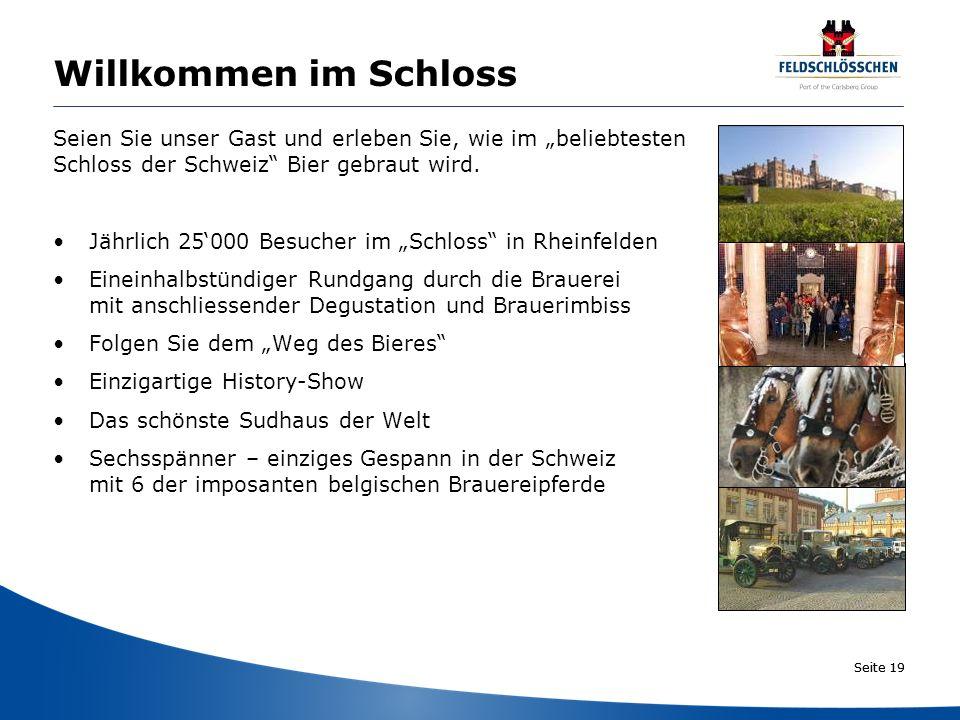 Seite 19 Willkommen im Schloss Seien Sie unser Gast und erleben Sie, wie im beliebtesten Schloss der Schweiz Bier gebraut wird. Jährlich 25000 Besuche