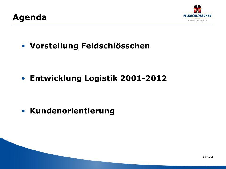Seite 2 Agenda Vorstellung Feldschlösschen Entwicklung Logistik 2001-2012 Kundenorientierung