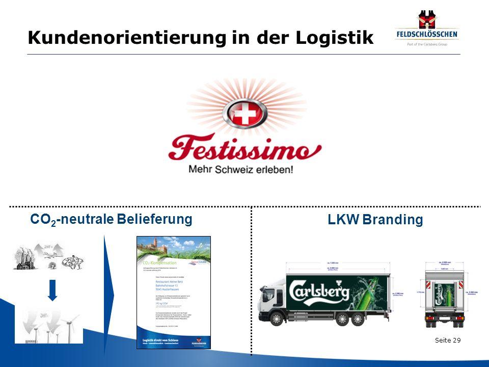 Seite 29 Kundenorientierung in der Logistik CO 2 -neutrale Belieferung LKW Branding