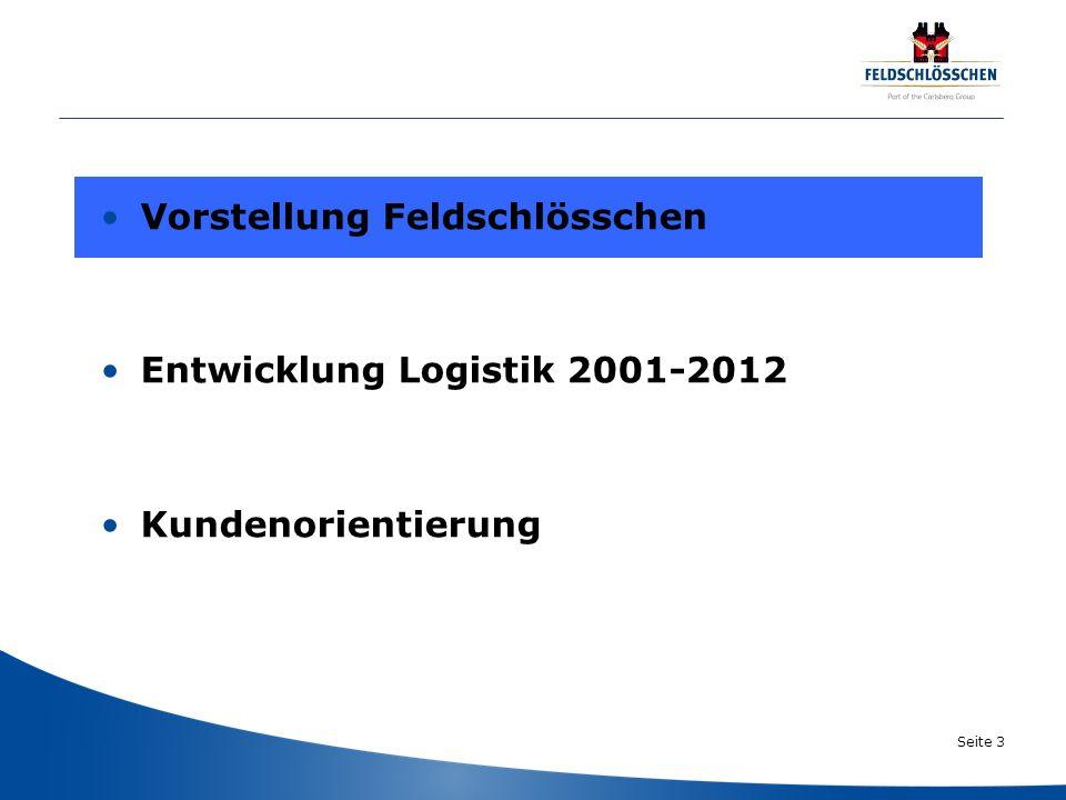 Seite 3 Vorstellung Feldschlösschen Entwicklung Logistik 2001-2012 Kundenorientierung