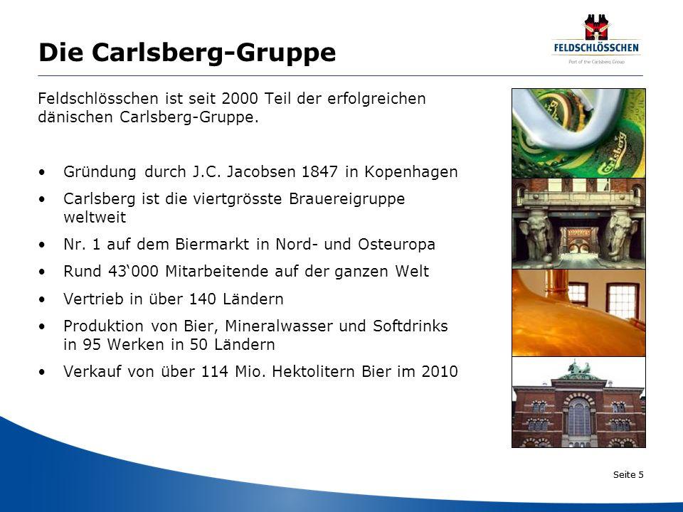 Seite 5 Die Carlsberg-Gruppe Feldschlösschen ist seit 2000 Teil der erfolgreichen dänischen Carlsberg-Gruppe. Gründung durch J.C. Jacobsen 1847 in Kop