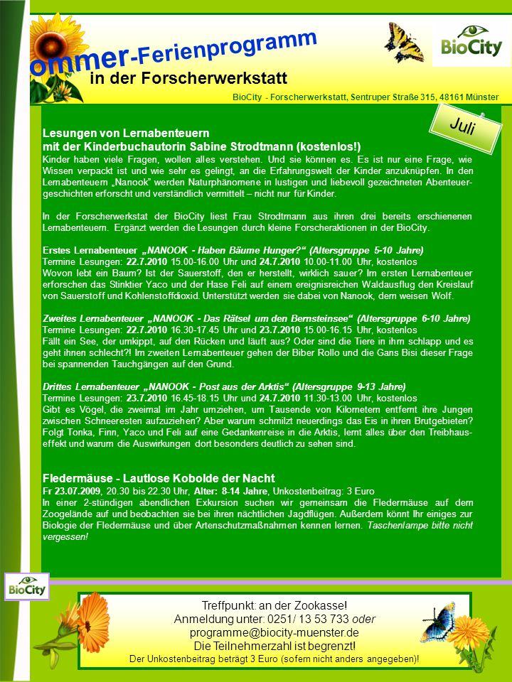 in der Forscherwerkstatt BioCity - Forscherwerkstatt, Sentruper Straße 315, 48161 Münster Lesungen von Lernabenteuern mit der Kinderbuchautorin Sabine Strodtmann (kostenlos!) Kinder haben viele Fragen, wollen alles verstehen.