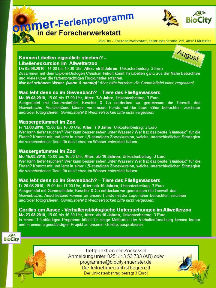 in der Forscherwerkstatt BioCity - Forscherwerkstatt, Sentruper Straße 315, 48161 Münster Können Libellen eigentlich stechen.