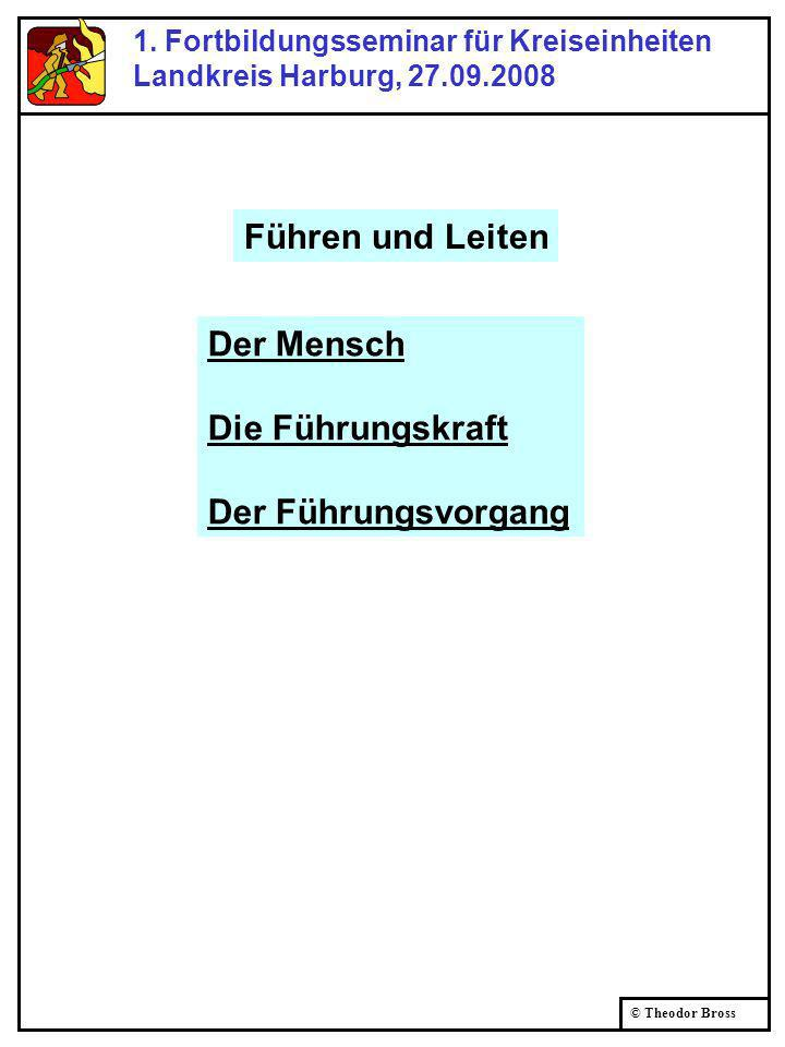 © Theodor Bross 1. Fortbildungsseminar für Kreiseinheiten Landkreis Harburg, 27.09.2008 Der Mensch Die Führungskraft Der Führungsvorgang Führen und Le