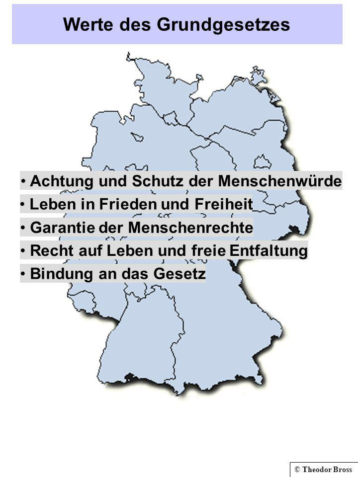 © Theodor Bross Werte des Grundgesetzes Achtung und Schutz der Menschenwürde Leben in Frieden und Freiheit Garantie der Menschenrechte Recht auf Leben und freie Entfaltung Bindung an das Gesetz