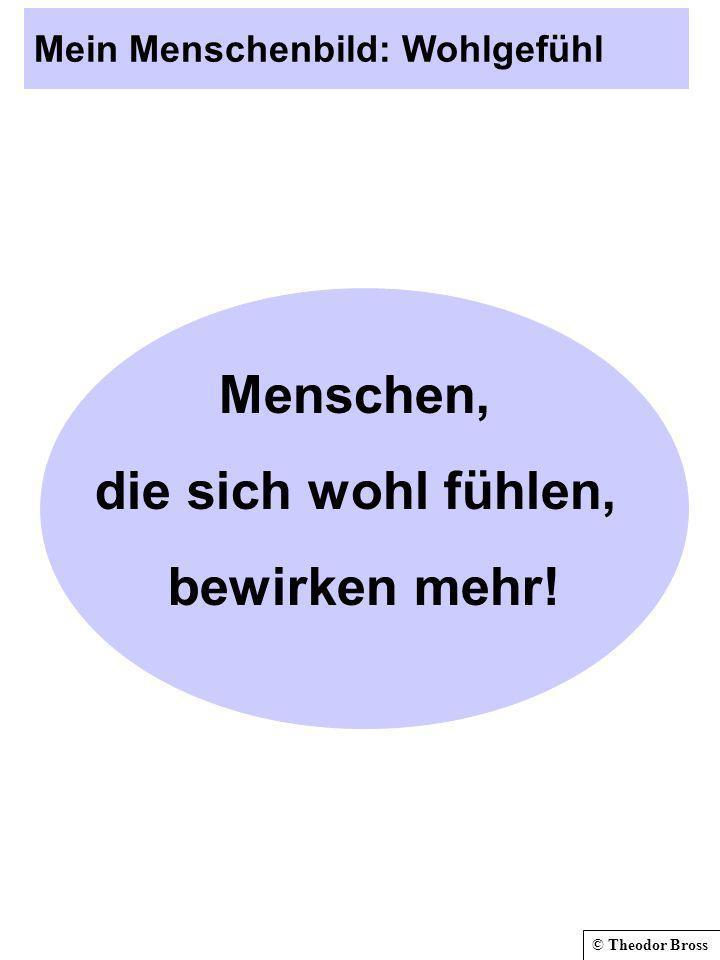 © Theodor Bross Mein Menschenbild: Wohlgefühl Menschen, die sich wohl fühlen, bewirken mehr!