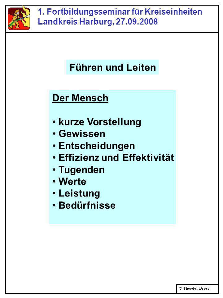 © Theodor Bross 1. Fortbildungsseminar für Kreiseinheiten Landkreis Harburg, 27.09.2008 Der Mensch kurze Vorstellung Gewissen Entscheidungen Effizienz