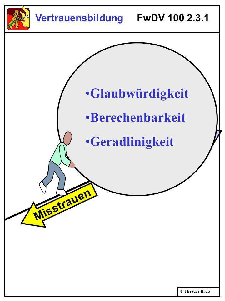 Vertrauen © Theodor Bross Vertrauensbildung FwDV 100 2.3.1 Misstrauen Glaubwürdigkeit Berechenbarkeit Geradlinigkeit