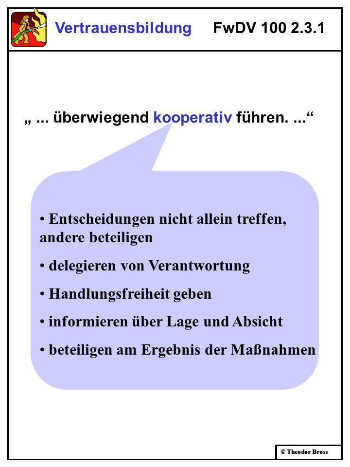 © Theodor Bross Vertrauensbildung FwDV 100 2.3.1... überwiegend kooperativ führen.... Entscheidungen nicht allein treffen, andere beteiligen delegiere