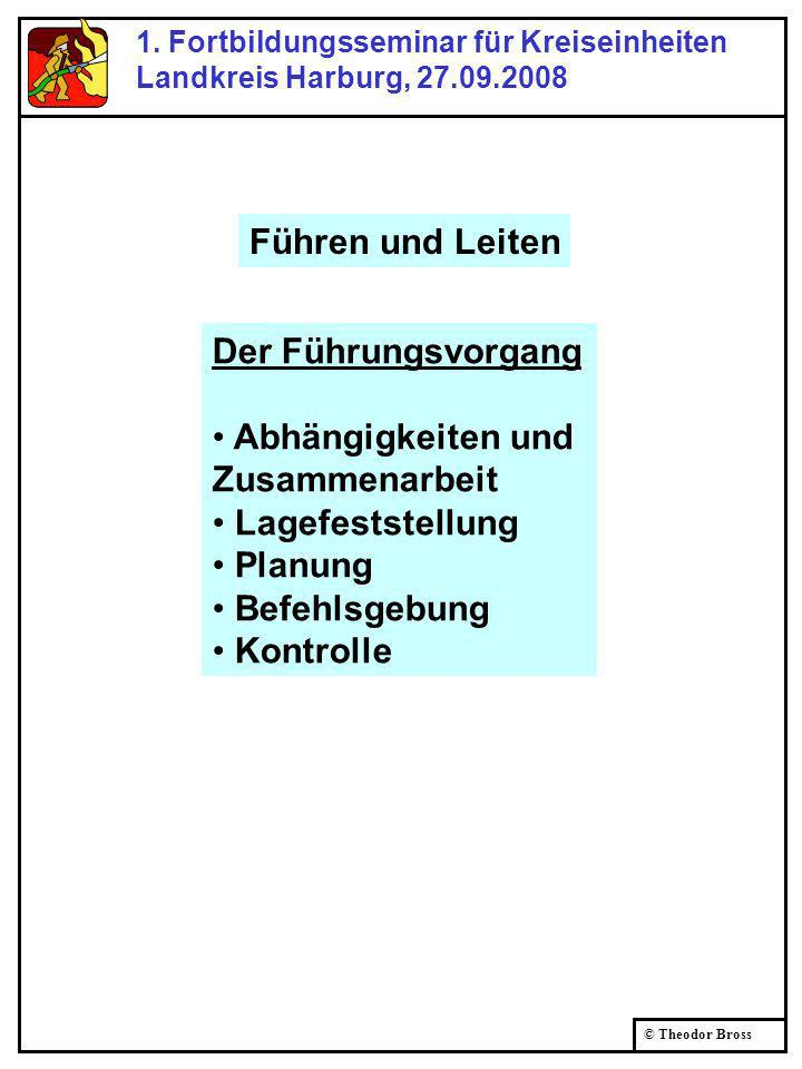 © Theodor Bross 1. Fortbildungsseminar für Kreiseinheiten Landkreis Harburg, 27.09.2008 Der Führungsvorgang Abhängigkeiten und Zusammenarbeit Lagefest