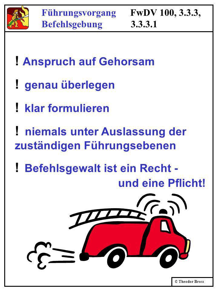 © Theodor Bross Führungsvorgang FwDV 100, 3.3.3, Befehlsgebung 3.3.3.1 ! Anspruch auf Gehorsam ! genau überlegen ! klar formulieren ! niemals unter Au