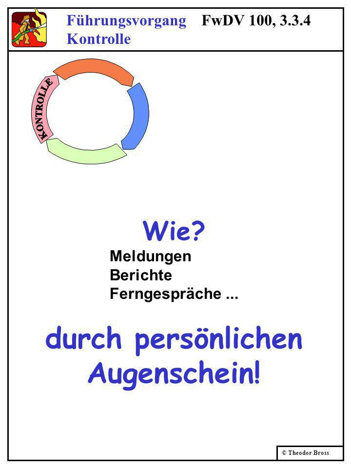 © Theodor Bross Führungsvorgang FwDV 100, 3.3.4 Kontrolle Wie? Meldungen Berichte Ferngespräche... durch persönlichen Augenschein!