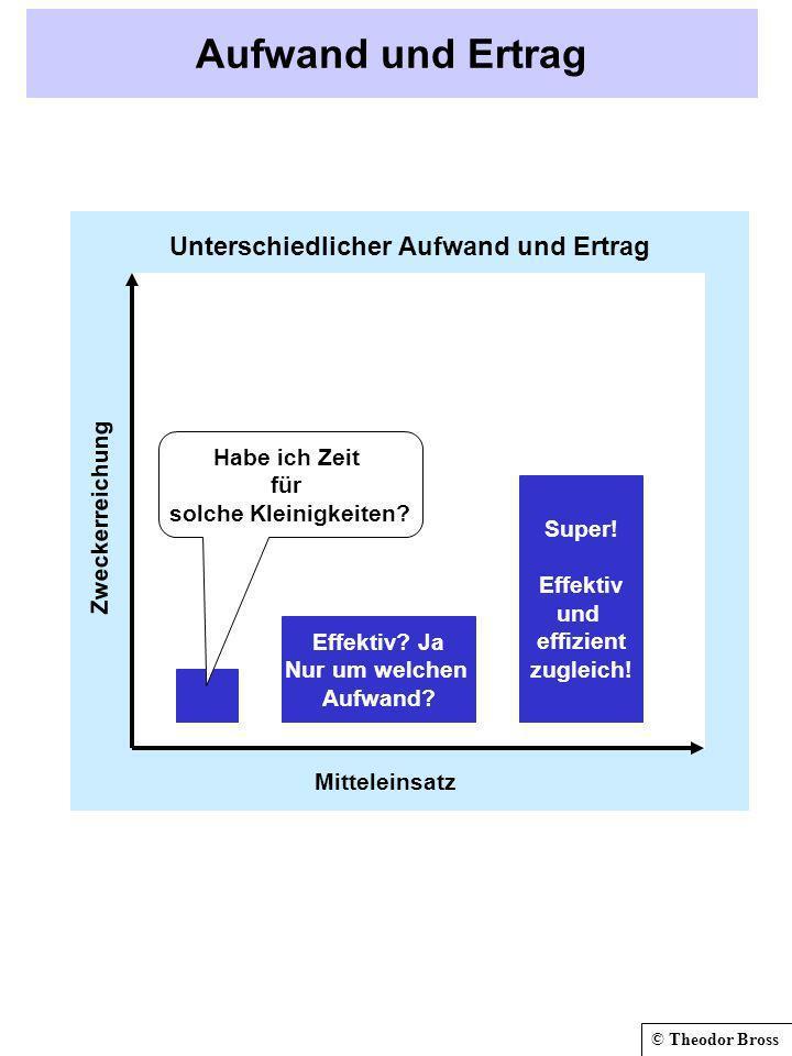 © Theodor Bross Aufwand und Ertrag Zweckerreichung Mitteleinsatz Effektiv? Ja Nur um welchen Aufwand? Super! Effektiv und effizient zugleich! Habe ich