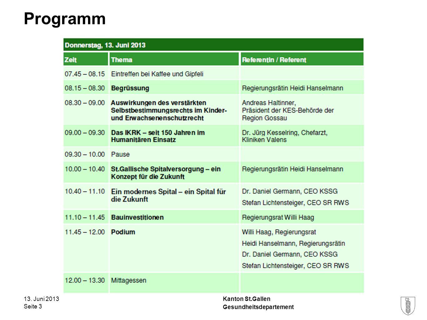 Kanton St.Gallen Programm 13. Juni 2013 Seite 3 Gesundheitsdepartement