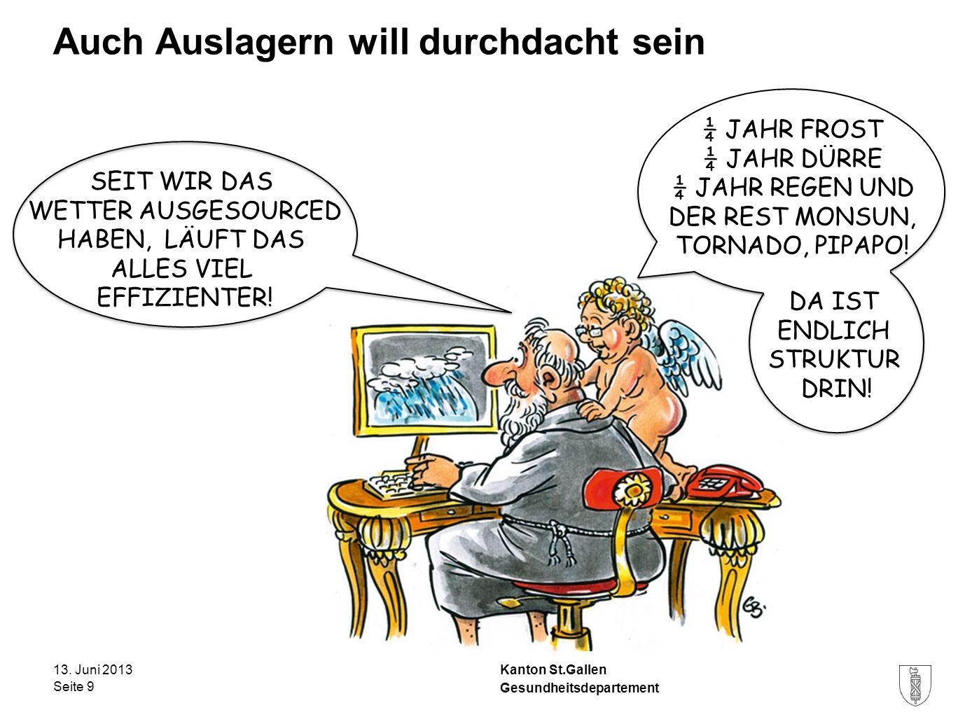 Kanton St.Gallen Auch Auslagern will durchdacht sein 13. Juni 2013 Seite 9 Gesundheitsdepartement SEIT WIR DAS WETTER AUSGESOURCED HABEN, LÄUFT DAS AL