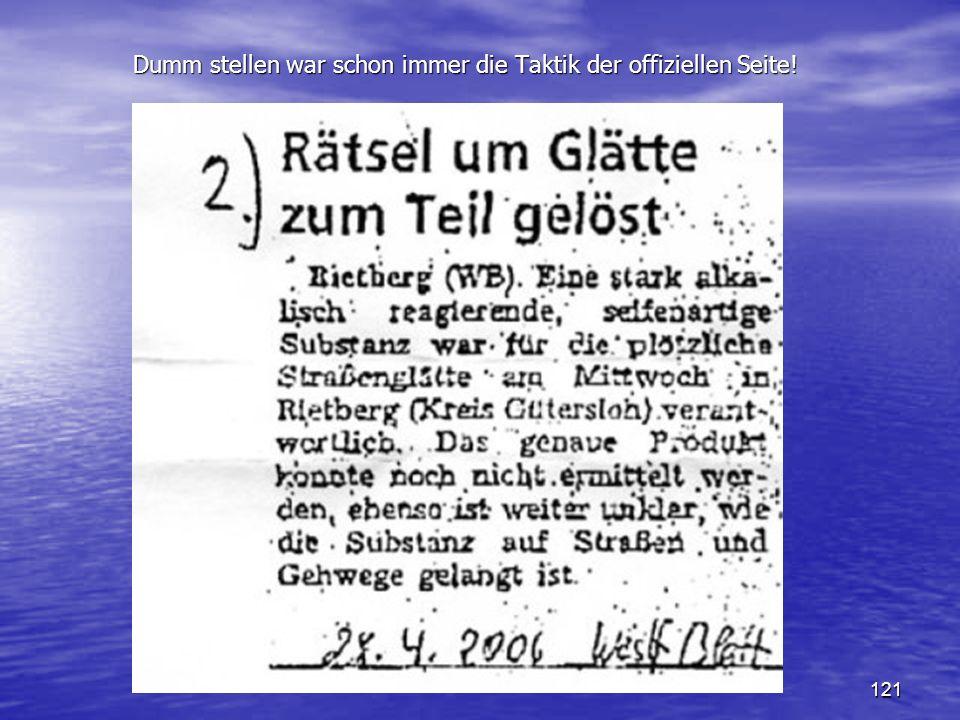 121 Dumm stellen war schon immer die Taktik der offiziellen Seite! Dumm stellen war schon immer die Taktik der offiziellen Seite!