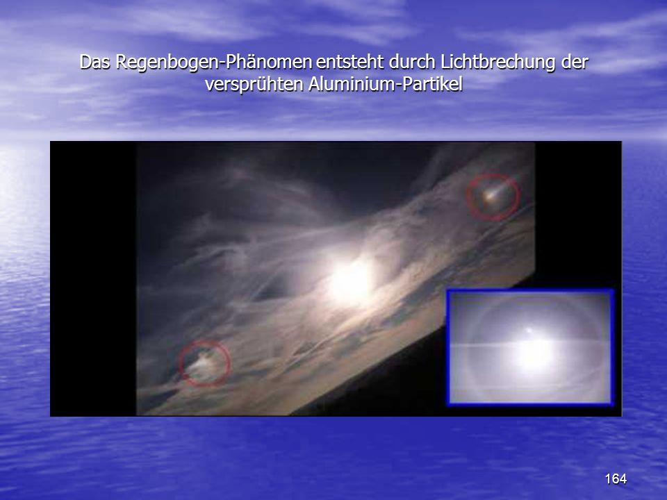 164 Das Regenbogen-Phänomen entsteht durch Lichtbrechung der versprühten Aluminium-Partikel