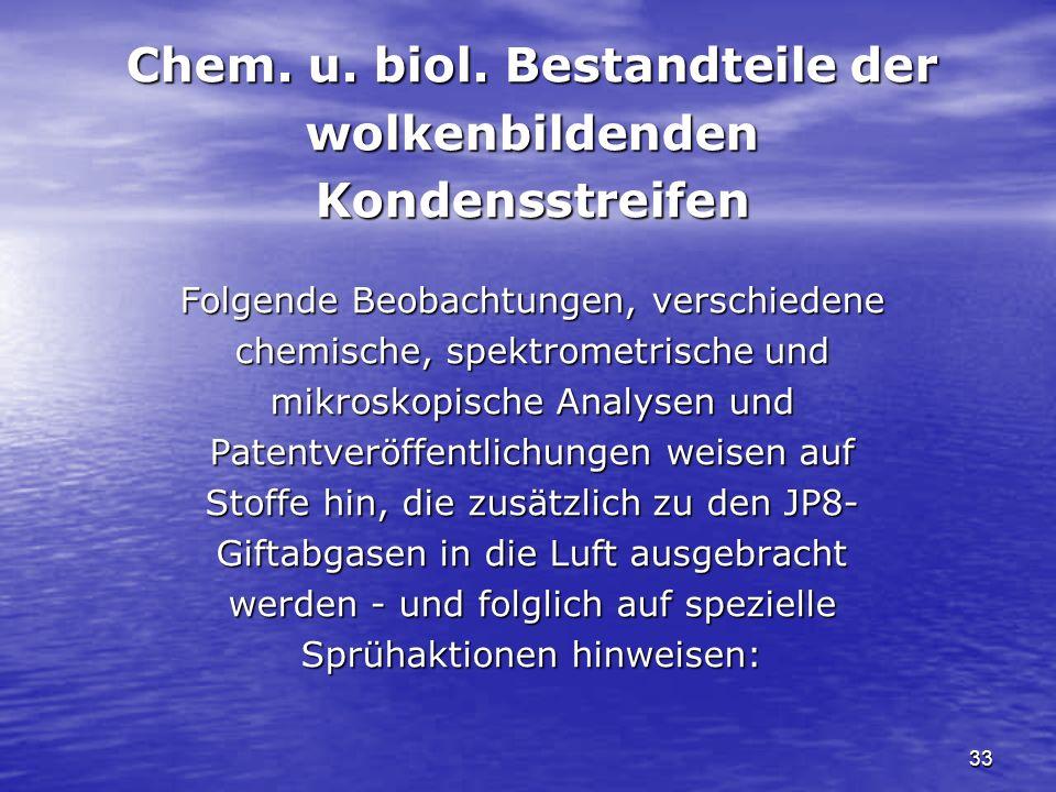 33 Chem. u. biol. Bestandteile der wolkenbildendenKondensstreifen Folgende Beobachtungen, verschiedene chemische, spektrometrische und mikroskopische