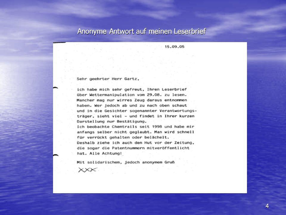 4 Anonyme Antwort auf meinen Leserbrief Anonyme Antwort auf meinen Leserbrief