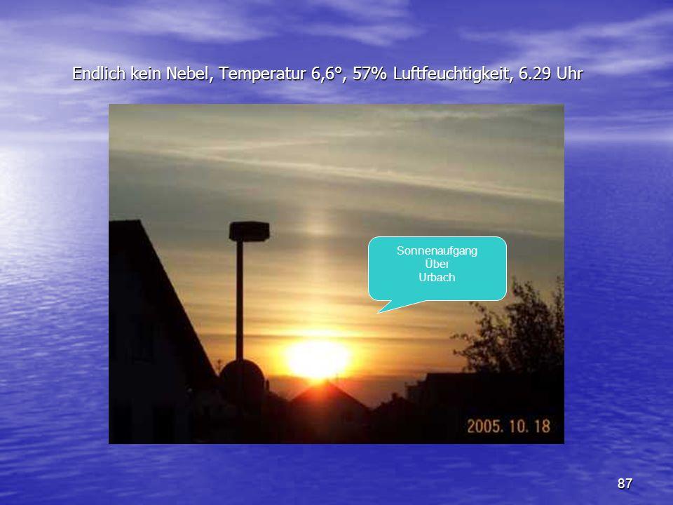 87 Endlich kein Nebel, Temperatur 6,6°, 57% Luftfeuchtigkeit, 6.29 Uhr Endlich kein Nebel, Temperatur 6,6°, 57% Luftfeuchtigkeit, 6.29 Uhr Sonnenaufga