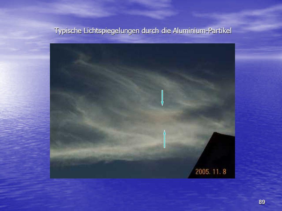 89 Typische Lichtspiegelungen durch die Aluminium-Partikel Typische Lichtspiegelungen durch die Aluminium-Partikel