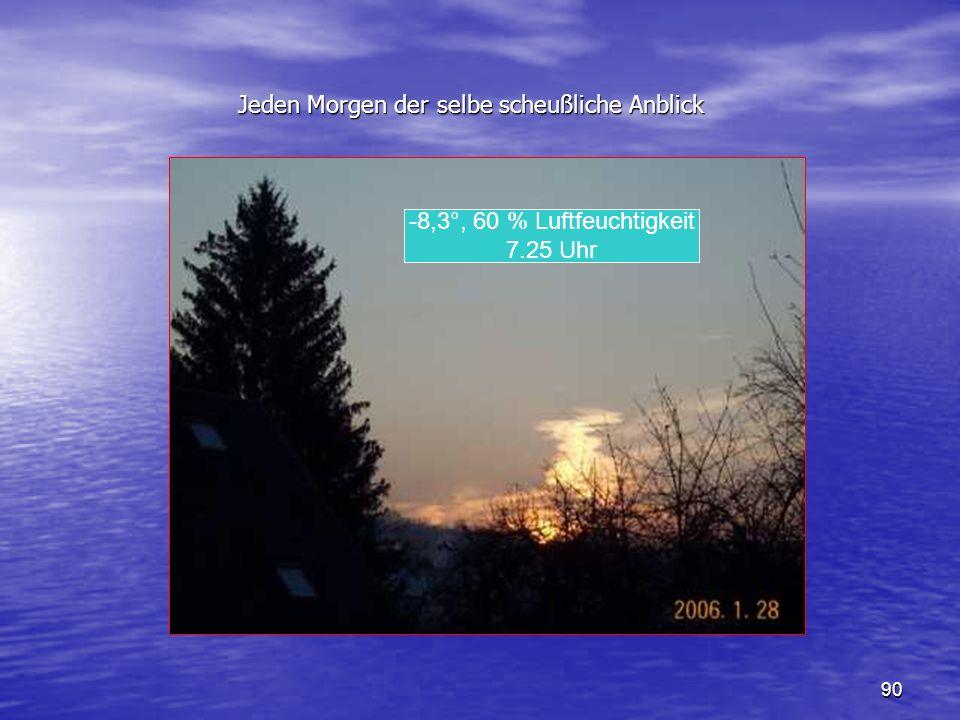 90 Jeden Morgen der selbe scheußliche Anblick Jeden Morgen der selbe scheußliche Anblick -8,3°, 60 % Luftfeuchtigkeit 7.25 Uhr