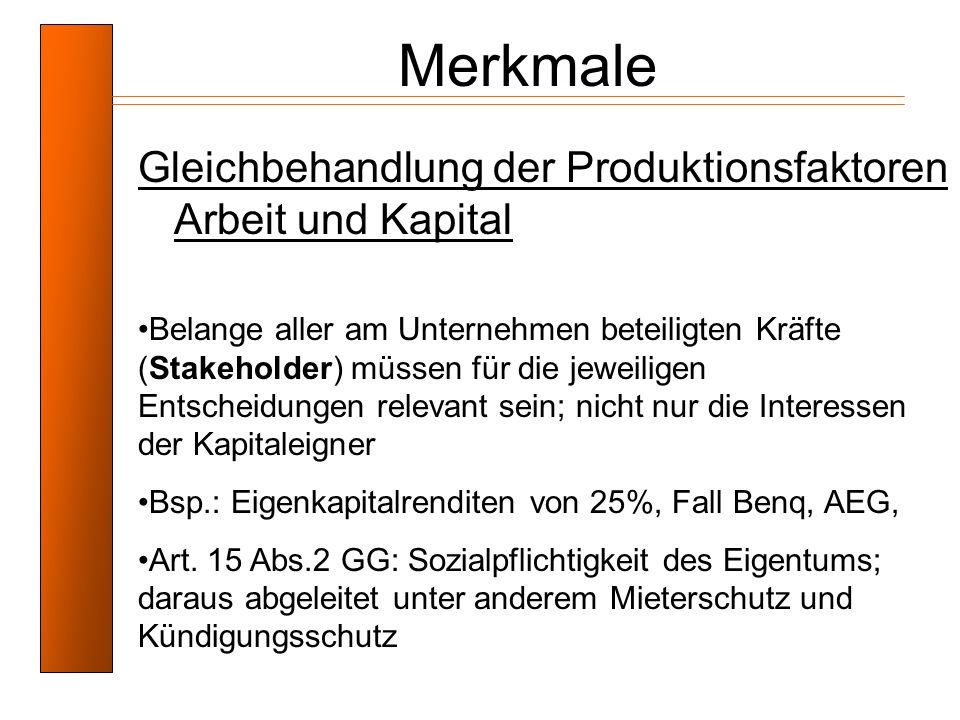 Merkmale Gleichbehandlung der Produktionsfaktoren Arbeit und Kapital Belange aller am Unternehmen beteiligten Kräfte (Stakeholder) müssen für die jewe