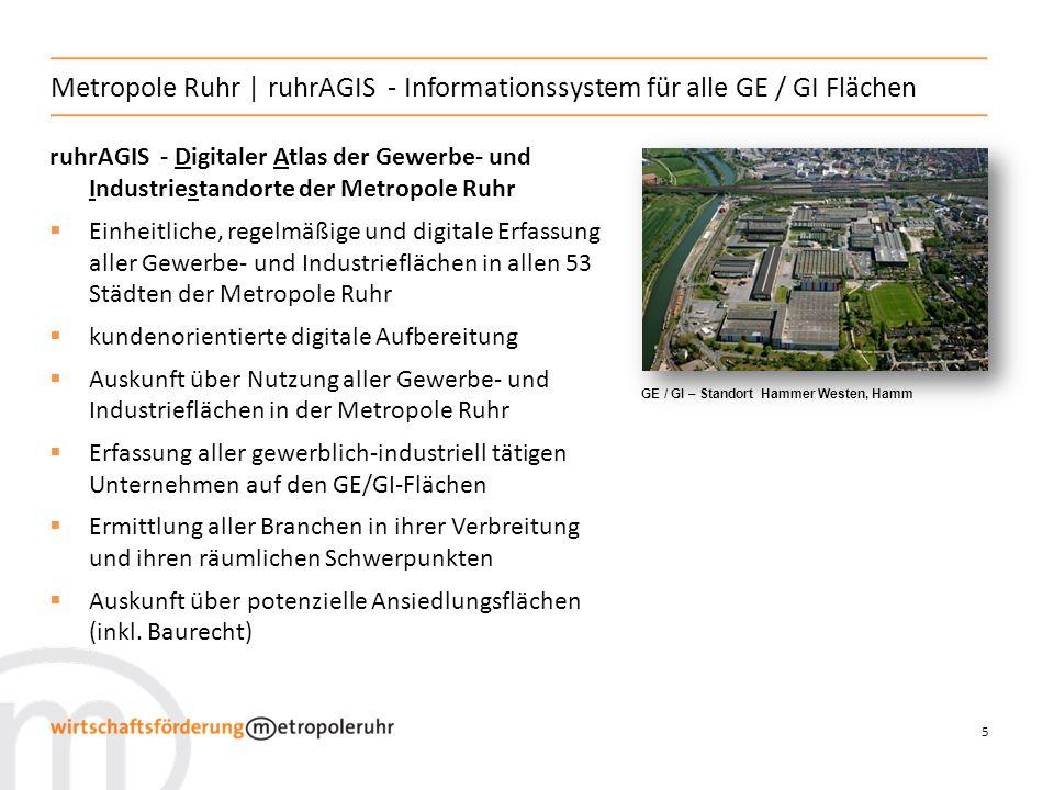 6 Metropole Ruhr | ruhrAGIS - Informationssystem für alle GE / GI Flächen ruhrAGIS - Standorte im Blick (Beispielansicht: Logistik im Duisburger Hafen, Duisburg)