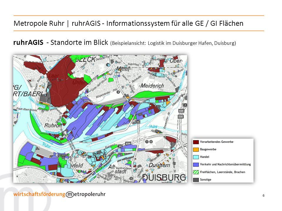 7 Metropole Ruhr | ruhrAGIS - Informationssystem für alle GE / GI Flächen ruhrAGIS - Ansiedlungsflächen (Beispielansicht: im Technologiepark Dieprahm / Kamp-Lintfort)