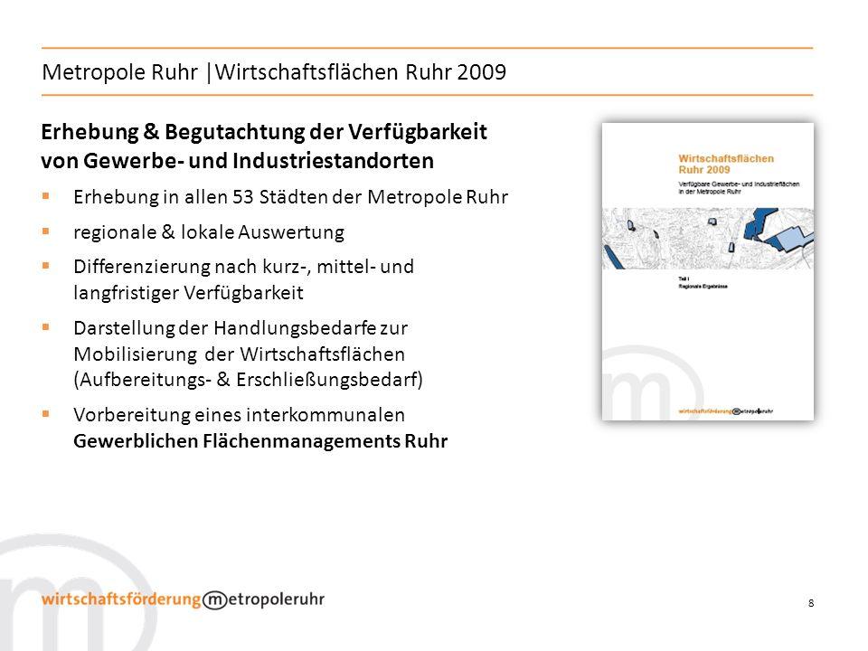 9 Metropole Ruhr | Wirtschaftsflächen Ruhr 2009 Digitale Ausweisung der kurz-, mittel- & langfristig verfügbaren Flächen