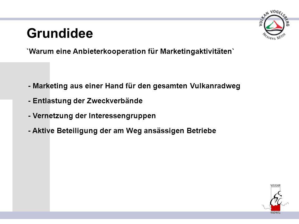 Grundidee `Warum eine Anbieterkooperation für Marketingaktivitäten` - Entlastung der Zweckverbände - Marketing aus einer Hand für den gesamten Vulkanradweg - Vernetzung der Interessengruppen - Aktive Beteiligung der am Weg ansässigen Betriebe