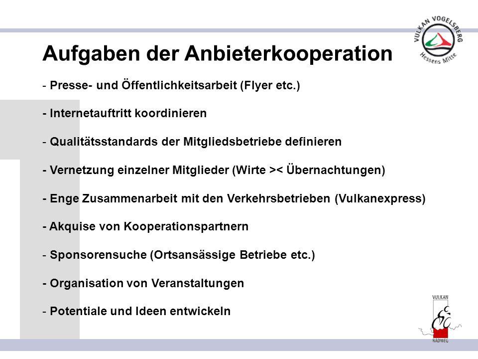 Aufgaben der Anbieterkooperation - Presse- und Öffentlichkeitsarbeit (Flyer etc.) - Internetauftritt koordinieren - Qualitätsstandards der Mitgliedsbe