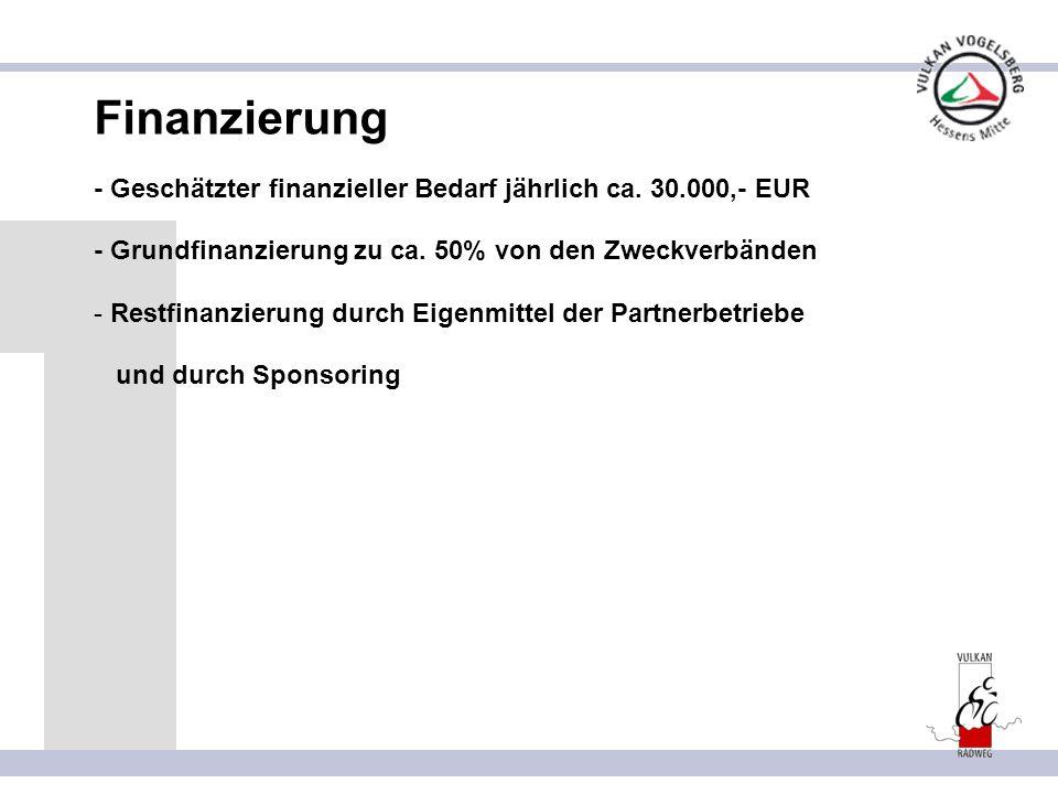Finanzierung - Geschätzter finanzieller Bedarf jährlich ca. 30.000,- EUR - Grundfinanzierung zu ca. 50% von den Zweckverbänden - Restfinanzierung durc