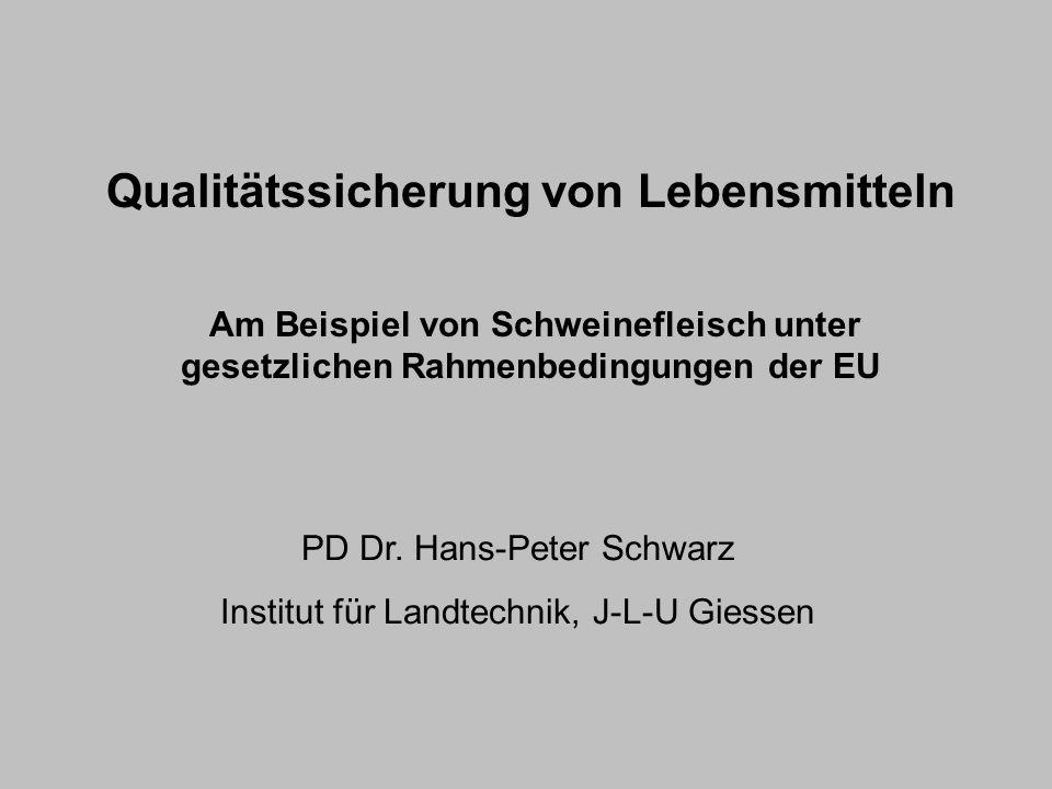 Qualitätssicherung von Lebensmitteln Am Beispiel von Schweinefleisch unter gesetzlichen Rahmenbedingungen der EU PD Dr. Hans-Peter Schwarz Institut fü