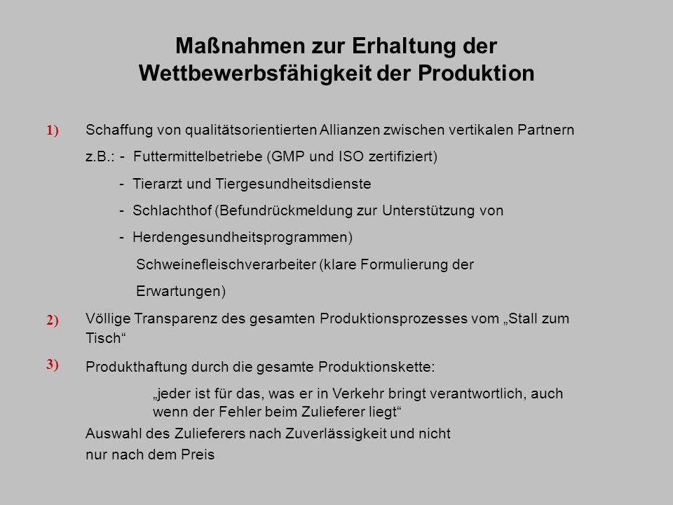 Maßnahmen zur Erhaltung der Wettbewerbsfähigkeit der Produktion Schaffung von qualitätsorientierten Allianzen zwischen vertikalen Partnern z.B.: - Fut
