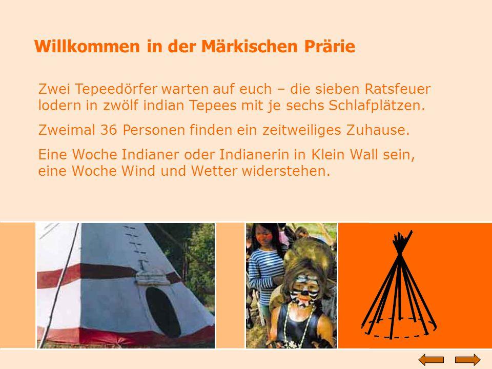 Willkommen in der Märkischen Prärie Zwei Tepeedörfer warten auf euch – die sieben Ratsfeuer lodern in zwölf indian Tepees mit je sechs Schlafplätzen.