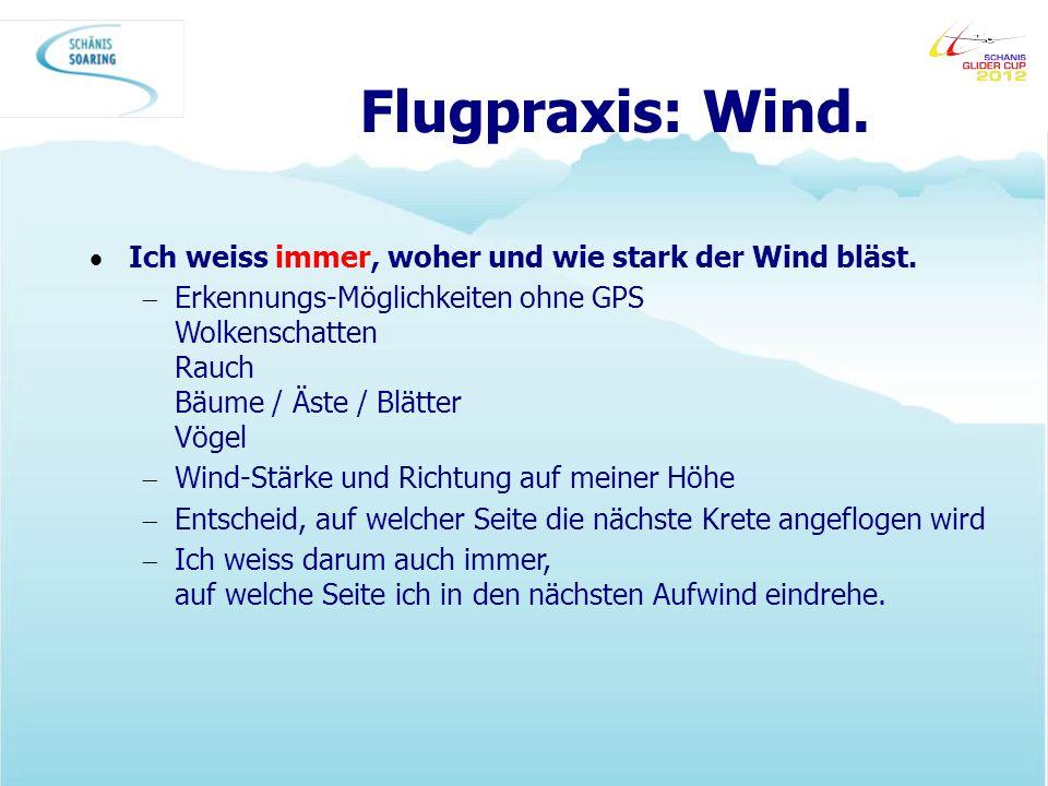 Flugpraxis: Wind. Ich weiss immer, woher und wie stark der Wind bläst. Erkennungs-Möglichkeiten ohne GPS Wolkenschatten Rauch Bäume / Äste / Blätter V