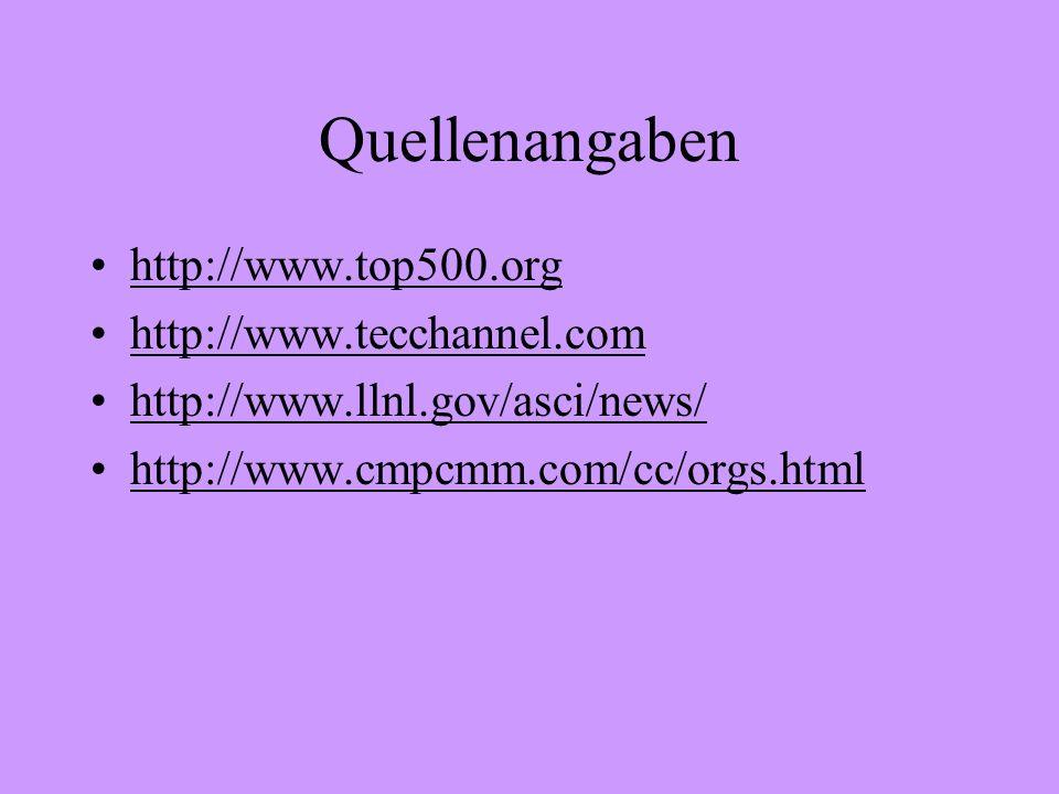 Quellenangaben http://www.top500.org http://www.tecchannel.com http://www.llnl.gov/asci/news/ http://www.cmpcmm.com/cc/orgs.html