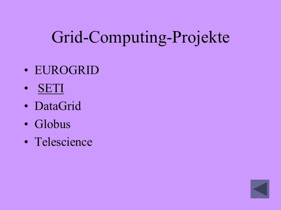 Grid-Computing-Projekte EUROGRID SETI DataGrid Globus Telescience