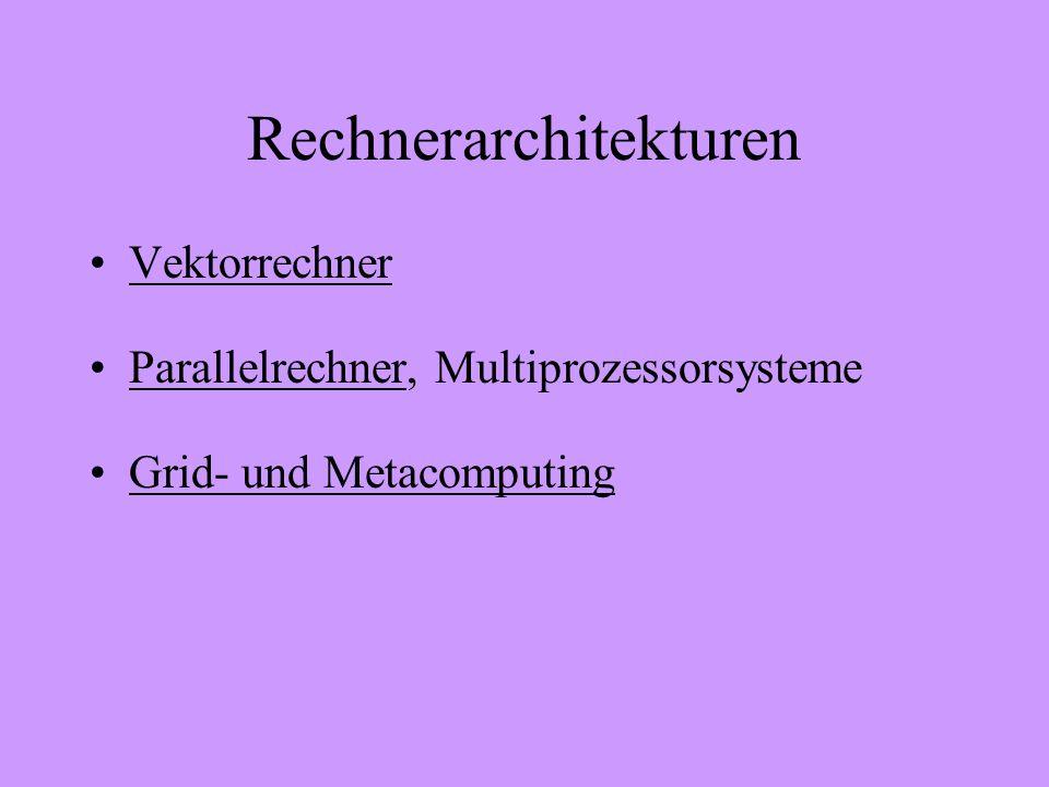 Rechnerarchitekturen Vektorrechner Parallelrechner, MultiprozessorsystemeParallelrechner Grid- und Metacomputing