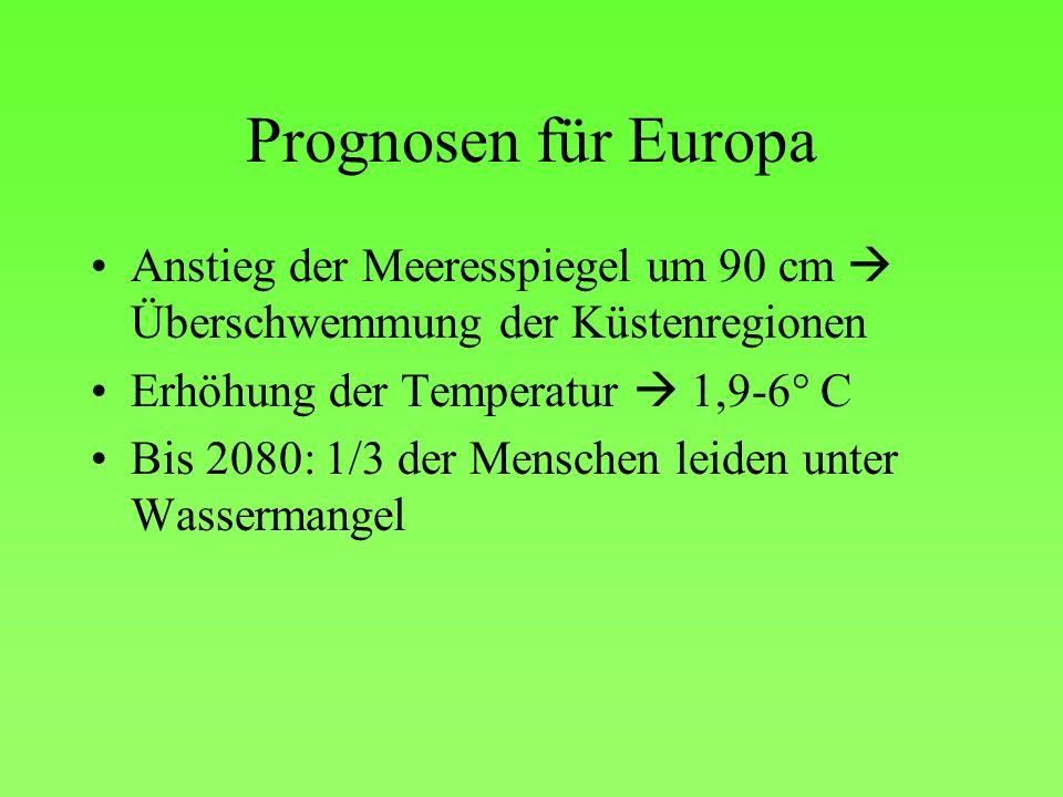 Prognosen für Europa Anstieg der Meeresspiegel um 90 cm Überschwemmung der Küstenregionen Erhöhung der Temperatur 1,9-6° C Bis 2080: 1/3 der Menschen