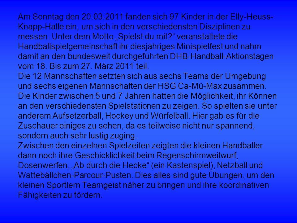 Am Sonntag den 20.03.2011 fanden sich 97 Kinder in der Elly-Heuss- Knapp-Halle ein, um sich in den verschiedensten Disziplinen zu messen.