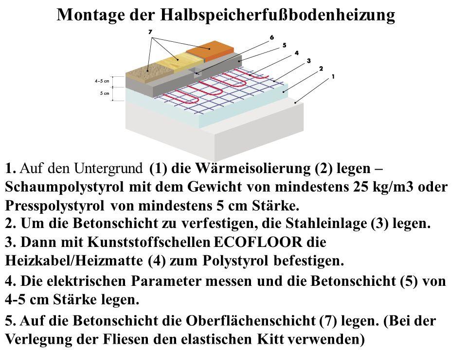 Montage der Halbspeicherfußbodenheizung 5. Auf die Betonschicht die Oberflächenschicht (7) legen. (Bei der Verlegung der Fliesen den elastischen Kitt