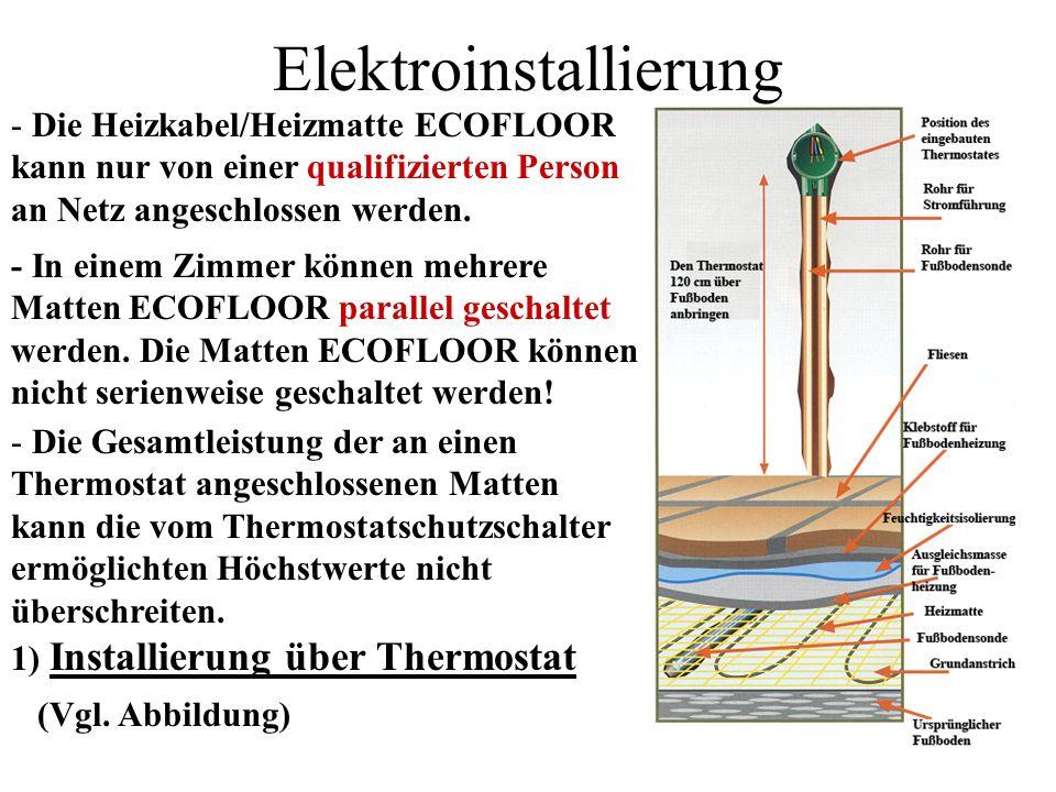 Elektroinstallierung - Die Heizkabel/Heizmatte ECOFLOOR kann nur von einer qualifizierten Person an Netz angeschlossen werden. - In einem Zimmer könne