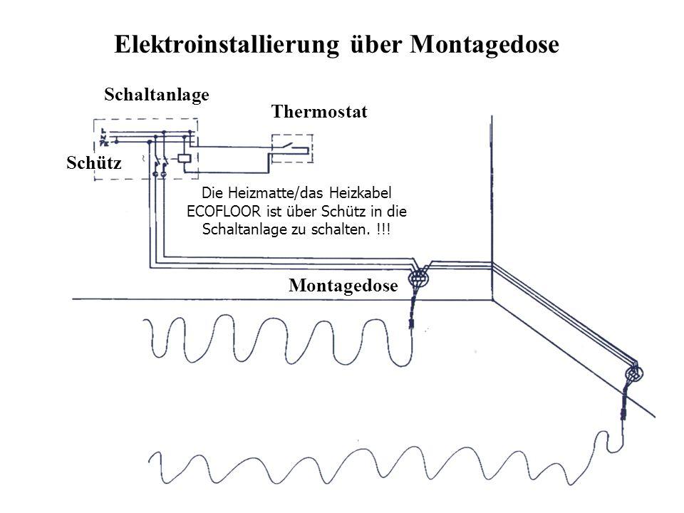 Elektroinstallierung über Montagedose Thermostat Schaltanlage Schütz Montagedose Die Heizmatte/das Heizkabel ECOFLOOR ist über Schütz in die Schaltanl