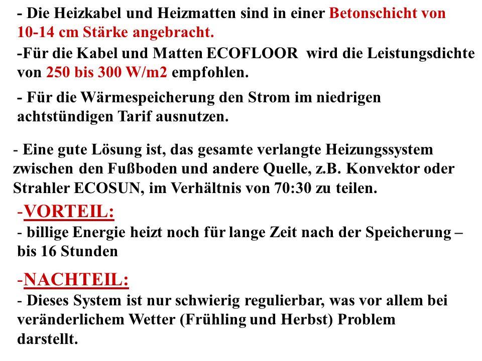 Halbspeicherheizung 1.Untergrund 2. Wärmeisolierung (Presspolystyrol) 3.