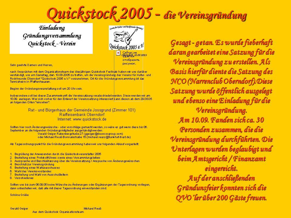 Quickstock 2005 - die Vereinsgründung Gesagt - getan. Es wurde fieberhaft daran gearbeitet eine Satzung für die Vereinsgründung zu erstellen. Als Basi
