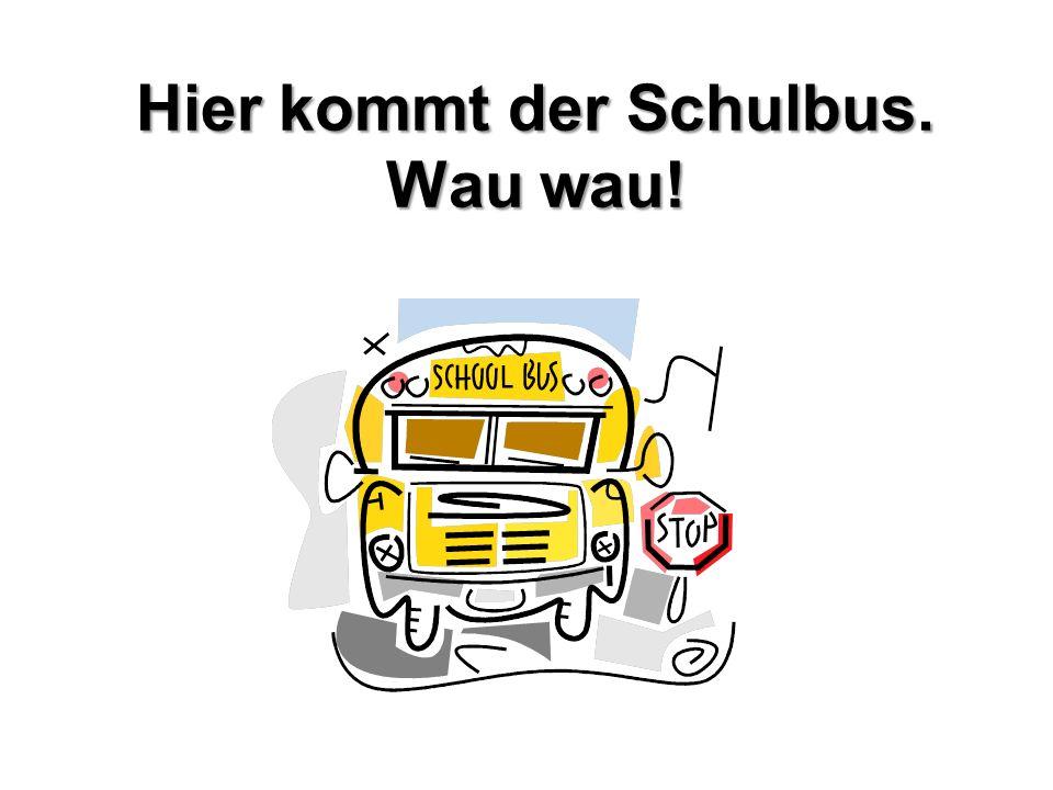 Hier kommt der Schulbus. Wau wau!